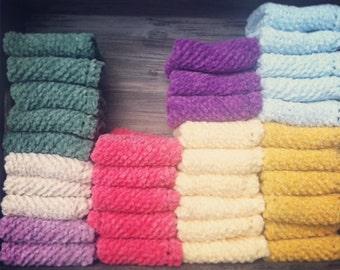 100% Cotton Chenille Hand-Knit Washcloths