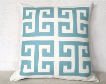 Greek Key Pillow in Seafoam Felt Applique on Creamy White Twill