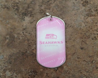 Seahawks pink dog tag necklace