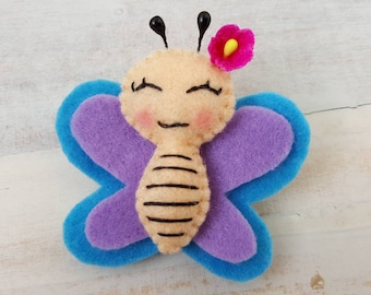 Handmade butterfly brooch butterfly pin butterfly badge felt toys felt animals gift for her butterfly jewelry cute butterfly fabric butterfl