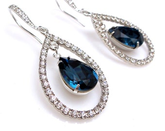 bridal jewelry wedding earrings bridesmaid gift prom pageant montana blue navy swarovski crystal fancy rhinestone teardrop cubic cz hook