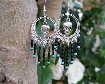 Silver Black and Turquoise Skull Chandelier Earrings, Goth Skull Earrings, Handmade Skull Dangle Earrings,