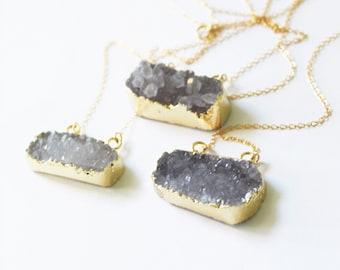 Druzy Bar Necklace, Druzy Necklace, Rectangle Druzy Necklace, Druzy Jewelry, 14kt Gold Filled Crystal Necklace, Bridesmaid Necklace, Drusy