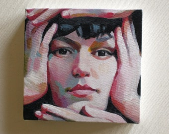 Jenny / Tiny canvas print - Print of Original acrylic painting-Digital print -mounted print - wall hanging
