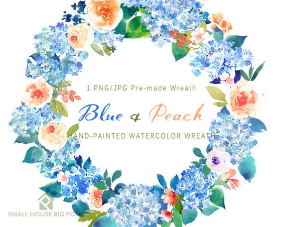 Digital Clipart- Watercolor Flower Clipart, peonies Clip art, Floral Bouquet Clipart, wedding flowers clip art- Blue & Peach Wreath