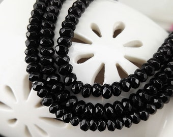 Full Strand 4x3mm 139pcs Jet Black Agate Faceted Rondelle Beads Agate Gemstone Beads