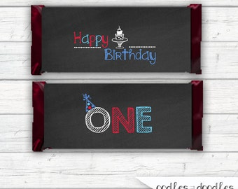 First Birthday Party, Candy Bar Wraps, Boy's First Birthday Printable Candy Favors, Printable Candy Wraps