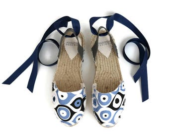 Espadrille Sandals. Evil Eye Print Espadrilles in Blue and White. Summer Leather and Fabric Shoes. Women's Sandals. Greek Sandals.