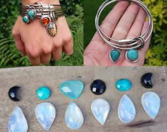 sterling silver rainbow moonstone gemstone bangle - bangle set - silver bangle - bangle trio - chunky bangle - boho jewelry