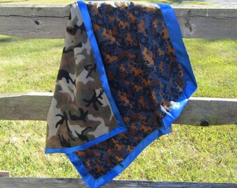 Handcrafted Horses Brown on Navy Flannel Baby Blanket w/fleece back....choose border color