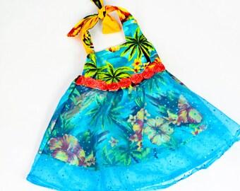 Girls Tropical Short Dress With Blue Lace Chiffon Skirt, Toddler Girls Dress, Girls Summer Dress, Halter Dress, Hawaiian Dress
