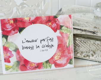Perfect love - french wish card - bible verse
