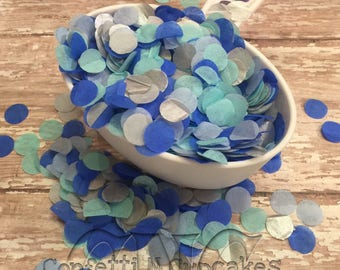 Tissue Paper Confetti, confetti throw, baby shower decor, blue aqua silver confetti, wedding reception, birth announcements, circle confetti