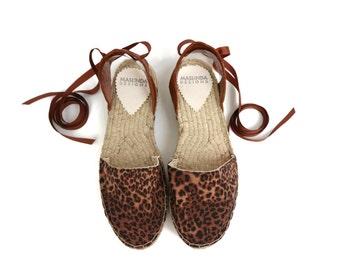 Espadrille Sandals. Leopard Print Espadrilles. Summer Leather and Fabric Shoes. Women's Sandals. Greek Sandals. Alpargatas. Handmade Shoes