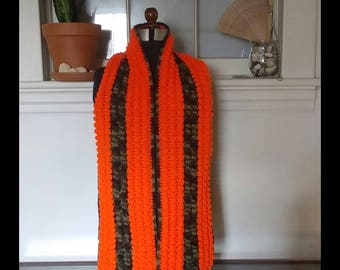 Flaming Orange and Camouflage Crochet Scarf