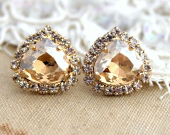 Champagne Crystal stud Petite vintage earring - 14k 1 micron Thick plated gold post earrings real swarovski rhinestones.