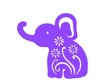Floral Elephant Decal