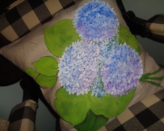 "Hand painted HYDRANGEA blossoms on an 18""x18"" cotton canvas pillow cover"