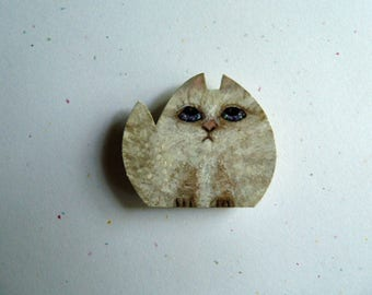 Cat magnet, OOAK magnet, Wooden magnet, Hand painted magnet, Memo magnet, Cute magnet, Kitty Cat,