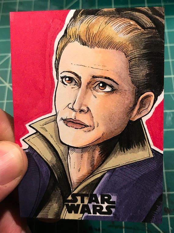 Journey to the Last Jedi Original Artist Sketch Card: Leia
