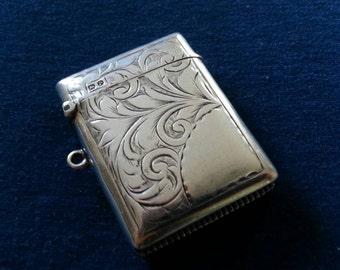 Victorian Sterling Vesta Match Safe, Antique Sterling Match Case