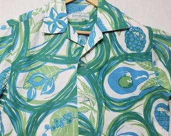 1960s Shirt / S / Tropical Fruit / 1960s Hawaiian Shirt / Cabana / Tiki / Novelty / Beach / 1960s Mens Fashion / Fruit Shirt / Camp / Cotton