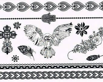 Temporary tattoos Black Lace YHB005 21 X 14.5 CM