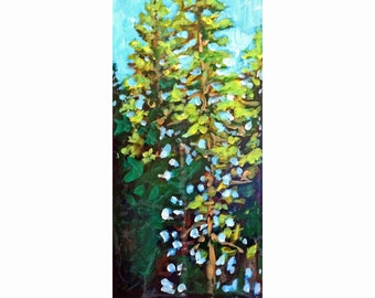 "Original Acylic Miniature Painting, ""Fir Trees"""