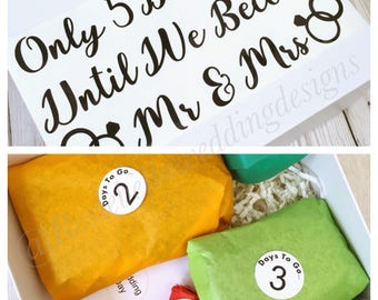 Calendar Wedding Countdown 5 or 10 days Personalised Boxed Groom Bride Couple Present Gift