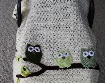Instant Download, PDF FILE - Crochet Pattern, Infant Tented Car Seat Cover, Stroller /Car Blanket, Owls, Toddler Blanket, Baby Blanket