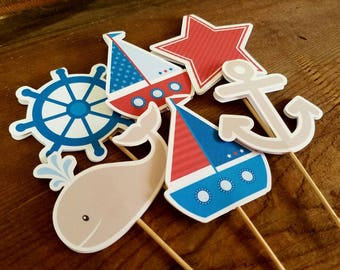 Nautical Birthday Party - Set of 12 Double Sided Assorted Nautical Cupcake Toppers by The Birthday House