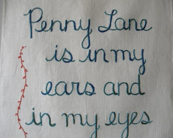 Penny Lane, Modern Tapestry, Embroidered art, Textile art, Wall art, Decorative art, Bohemian, Girlfriend gift, Cozy home