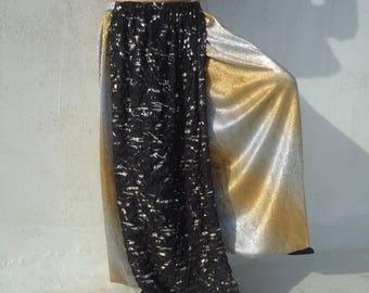 Black- Silver-Panel Skirt - Tribal Fusion- Belly dance-Overskirt-Accent Skirt.