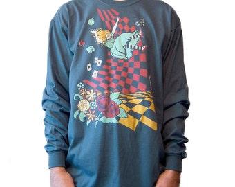 Men's Long Sleeve T-shirt,  Alice in Wonderland T-shirt, Down the Rabbit Hole, Original art, Gift for Him, Art T-shirt, Cool t-shirt