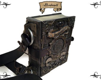 Wooden grimoire, hand-held box, book chest, fantasy, D&D, bible for LARP, mage, sorcerer, witch, priest, scribe, WH style