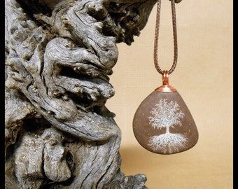 Tree of Life, River Rock, Pendant, Necklace, Copper wire bail