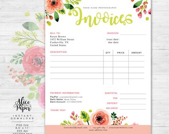 Invoice template, Photography invoice, Business invoice, Photography forms, Receipt template for Photographers, Photoshop template, PSD file