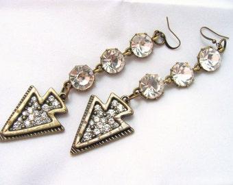 Arrowhead Earrings Rhinestone Earrings Shoulder Duster Extra Long Earrings Brass Earrings Gift Idea for Girlfriend Gift Idea for Wife