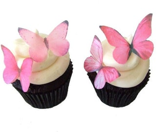 EDIBLE PAPER Butterflies in 24 Prettiest Pink - Cupcake Decorating, Cupcake Toppers, Cake Decorations, Party Supplies