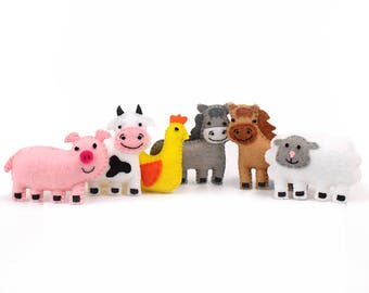 Farm Animal Sewing Patterns, Small Felt Barnyard Animals, Cow Pig Donkey Horse Sheep and Chicken Sewing Patterns, Soft Toy Farm Animals PDF