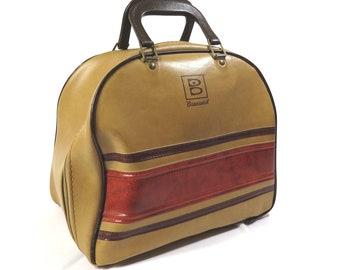 Brown and Tan Brunswick Bowling Bag Vintage 1970s Rockabilly Bowling Ball Bag Overnighter