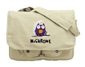 Caffeinated Owl Embroidered Canvas Messenger Bag