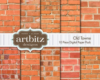 "Old Towne, 10 Piece Brick Texture Digital Scrapbook Paper Pack, 12""x12"", 300 dpi .jpg, Instant Download!"