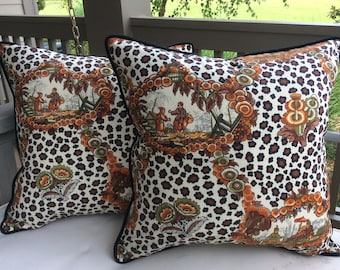 """Brunschwig and Fils """"New Chinese Leopard"""" pillow covers"""