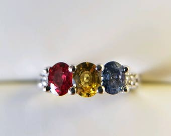 Multicolored Sapphire gem ring (red, yellow and blue)... set in 14K white gold with diamond accents.