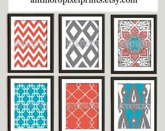 Coral Aqua Grey Modern Inspired  Chevron Bird Ikat Art Prints Collection  -Set of 6 - 8x10 Prints - UNFRAMED)
