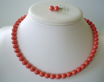 Single Strand Coral Swarovski Pearl Beaded Necklace and Earring Set    Great Brides or Bridesmaid Gifts
