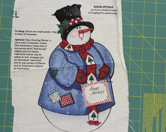 """Daisy Kingdom 11"""" Snowman Print on fabric for Applique, wall hanging or more!"""
