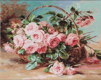 Basket of Roses SB547 - Cross Stitch Kit by Luca-s