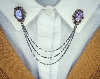 purple opal collar pins, collar chain, collar brooch, lapel pin, purple opal pin, pink opal brooch